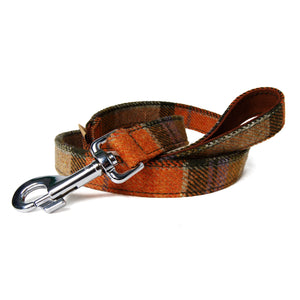 Tweed Orange Check Leather Dog Leash
