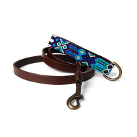 Woven Handle Leather Dog Leash