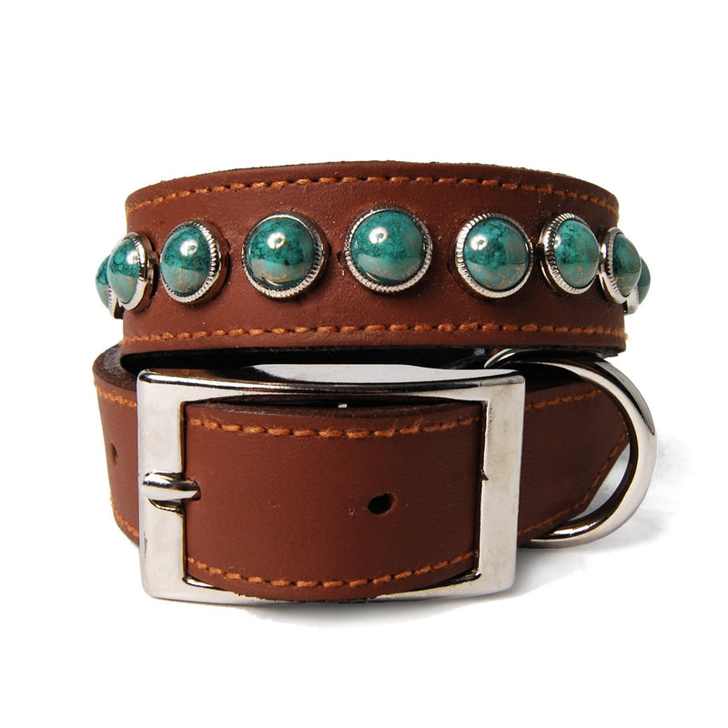 Single Row Marbled Turquoise Cabs on Chestnut Leather Dog Collar