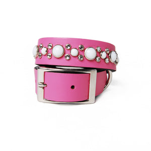 White Cabs and Clear Crystals on Pink Leather Dog Collar