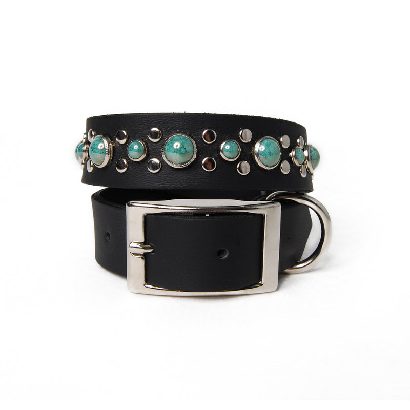 Marbled Turquoise Cabs and Flat Studs on Black Leather Dog Collar