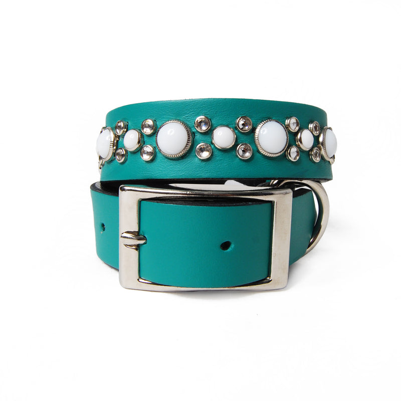 White Cabs and Clear Crystals on Teal Leather Dog Collar