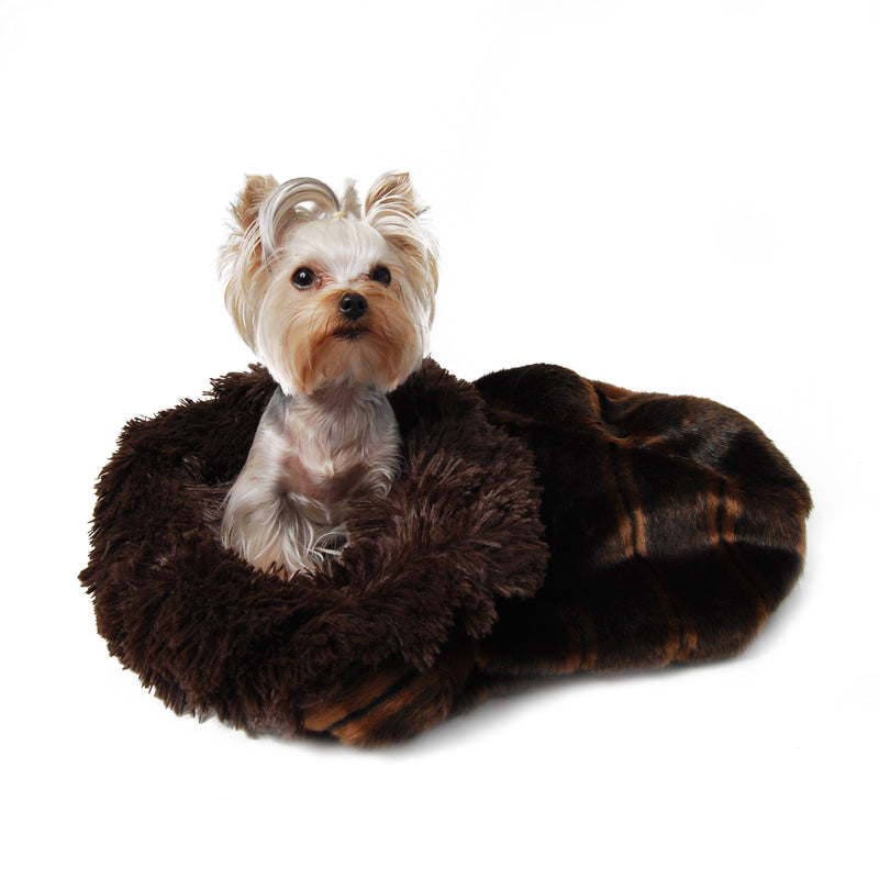Chocolate Sable with Shag Cuddle Cup Dog Bed