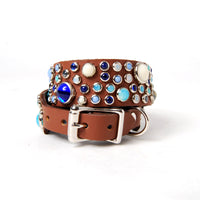 Mixed Stones on Chestnut Leather Dog Collar