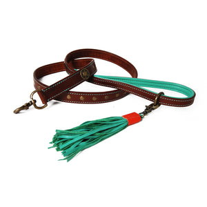 Brown and Turquoise Joe Leather Dog Leash
