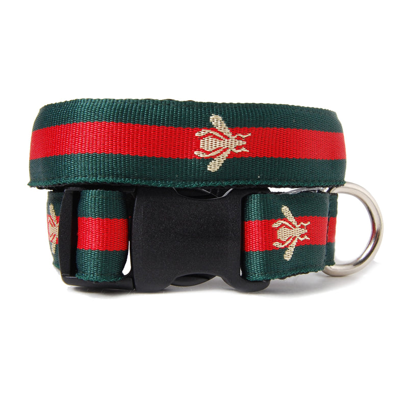 Red and Green Stripe Bee Dog Collar