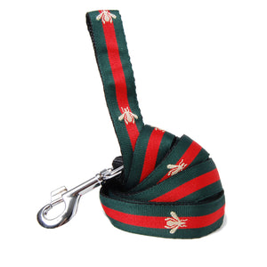 Red and Green Stripe Bee Dog Leash