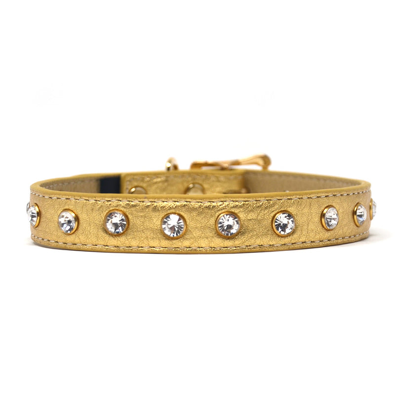 Clear Crystals on Gold Leather Dog Collar