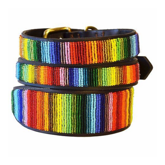 Over The Rainbow Beaded Leather Dog Collar