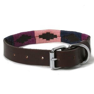 Purple, Navy and Pink Woven Leather Dog Collar