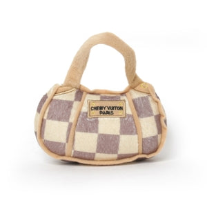 Chewy Vuitton Checkered Handbag Dog Toy