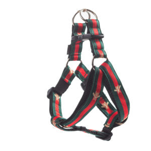 Red and Green Stripe Bee Dog Harness
