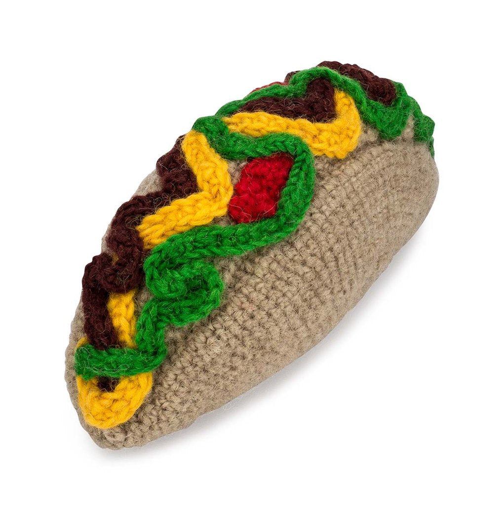 Knit Taco Dog Toy
