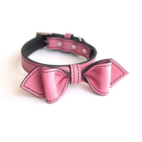 Martini Bow Tie Leather Dog Collar