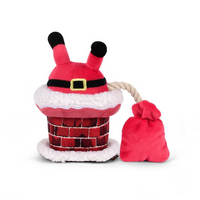 Clumsy Claus in Chimney Dog Toy