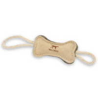 Natural Leather and Wool Bone Tug Toy