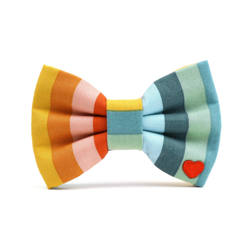 Vertical Stripes Dog Collar Bow Tie