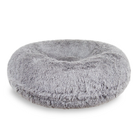 Siberian Grey Shag Bagel Pet Bed