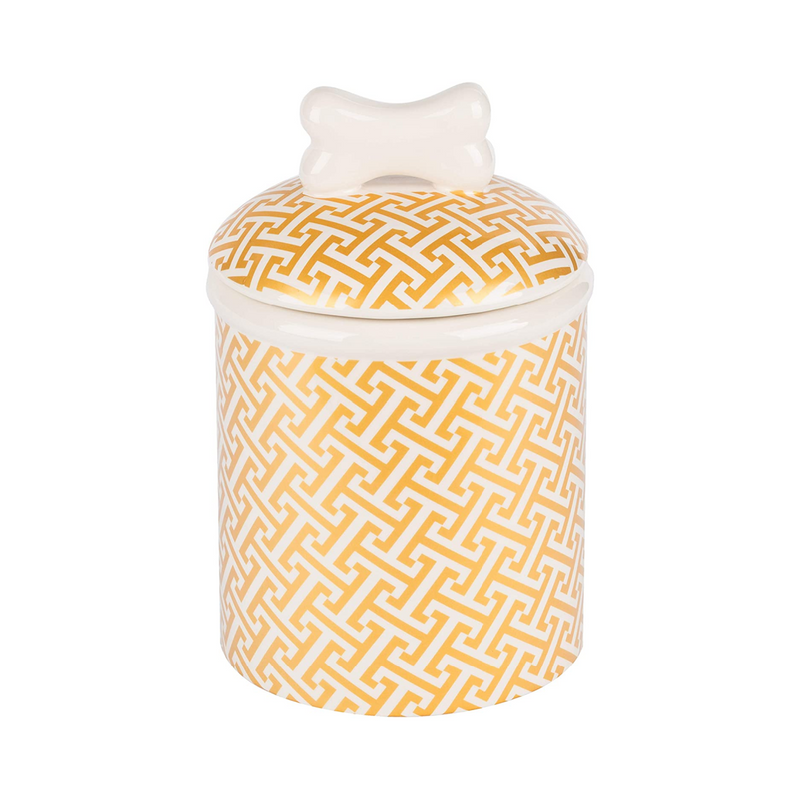 Gold Trellis Ceramic Treat Jar