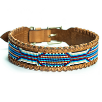 Whipped Stitch Rio Beaded Leather Dog Collar