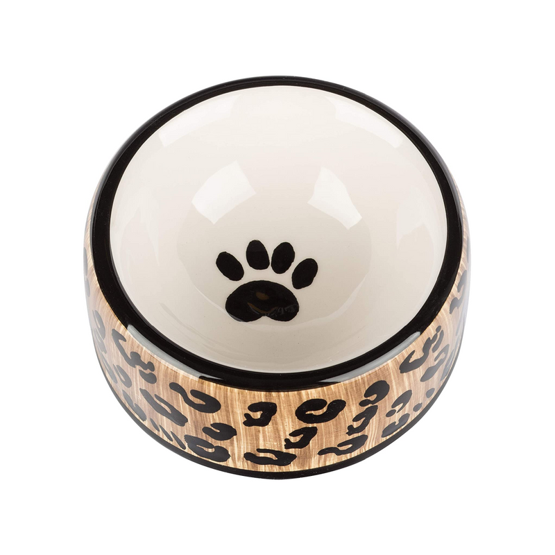 Leopard Ceramic Dog Bowl