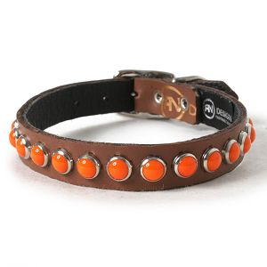 Retro Orange on Chestnut Leather Dog Collar