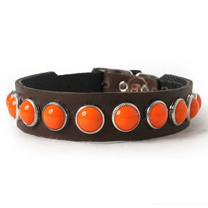 Retro Orange on Chocolate Leather Dog Collar