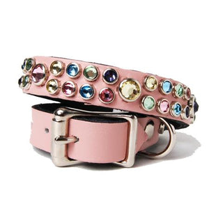 Multi Crystals on Light Pink Leather Dog Collar