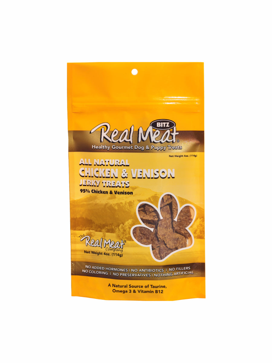 Real Meat Chicken and Venison Jerky Dog Treats