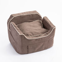 Luxury Microsuede Dog Car Seat with Storage Drawer