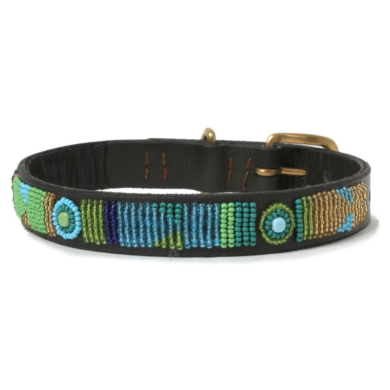 Peacock Beaded Leather Dog Collar