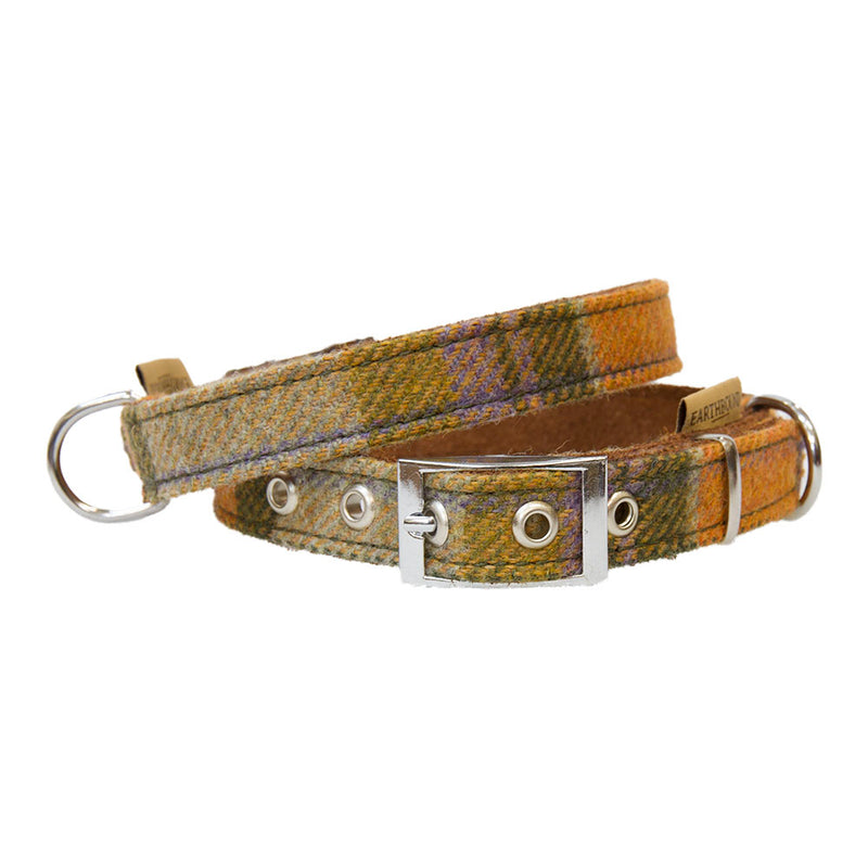Tweed Orange Check Leather Dog Collar