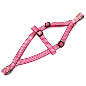 Pink Gingham Step In Dog Harness