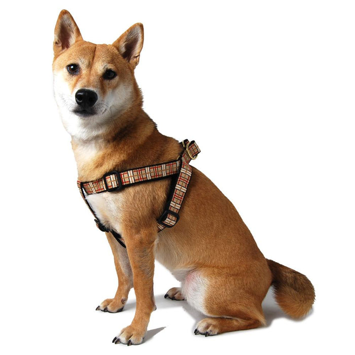 Brown Plaid Step In Dog Harness