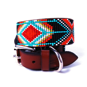 Turquoise and Orange Diamond Beaded Leather Dog Collar