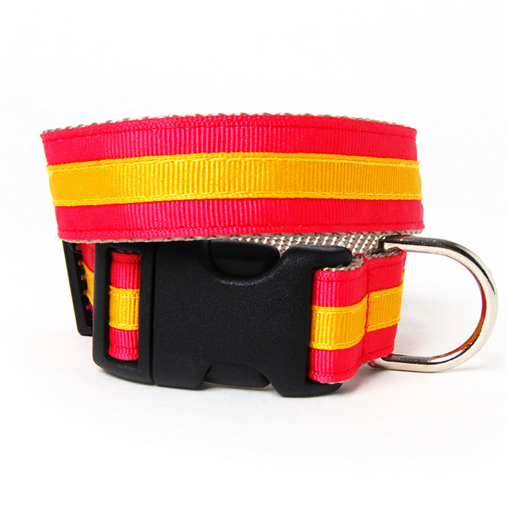 Coral and Gold Stripe Dog Collar