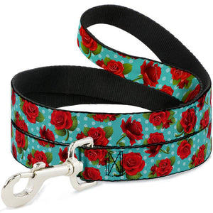 Red Rose and Aqua Dot Dog Leash