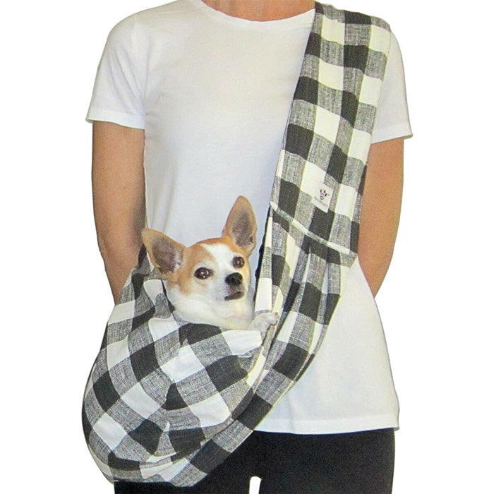 Black and White Check Cotton Dog Sling