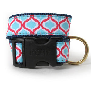 Blue and Red Geometric Dog Collar