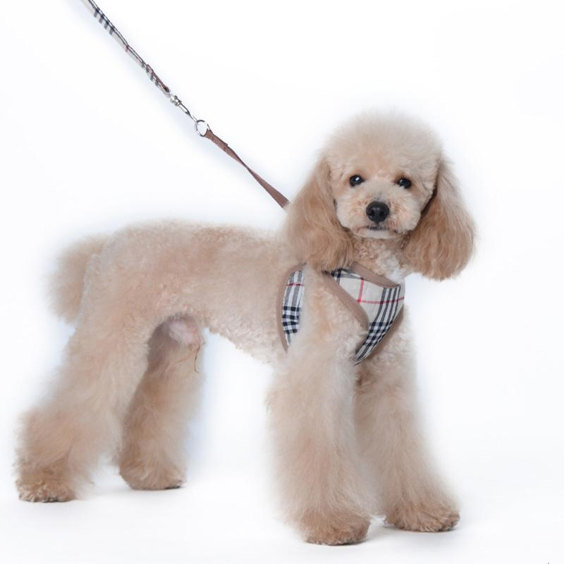 Tan Plaid Dog Harness with Leash