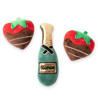 Mini Champagne and Two Strawberries Dog Toy Bundle