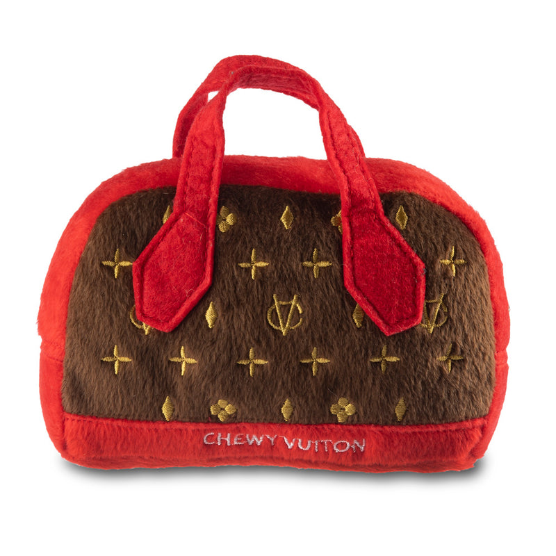 Chewy Vuitton Red Trim Monogram Handbag Dog Toy