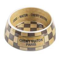 Checkered Chewy Vuitton Dog Bowl