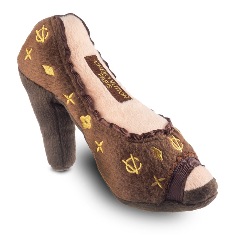 Brown Chewy Vuitton Pump Dog Toy