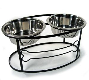 Black Bone Raised Double Feeder