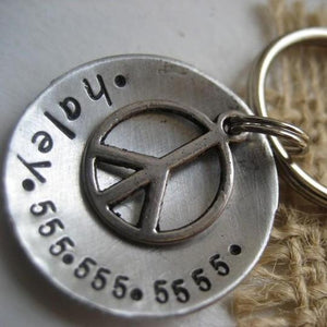 Peace Sign Engravable Pet Tag