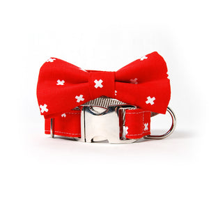 Holly Cross Dog Collar with Bow Tie