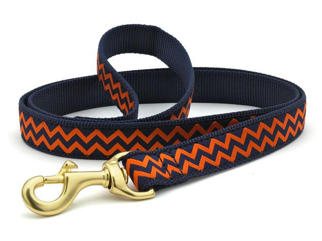 Navy and Orange Chevron Dog Leash