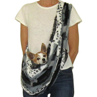 Black and Grey Leopard Faux Fur Dog Sling