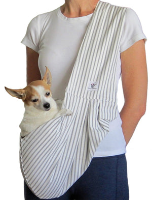 Grey and White Striped Cotton Dog Sling